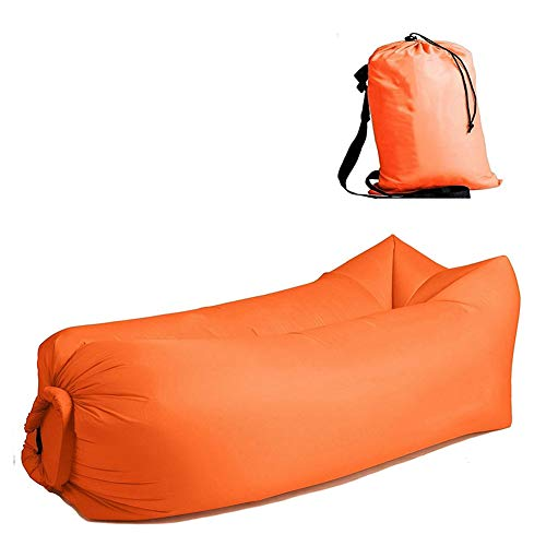 Inflatable Lounger Chair Inflatable Lounger Tumbona Inflable, Lazy Bed Sleeping Bag Sofá de Aire Inflable Rápido Air Lounge Sleeping Banana Beach Air Sofá Cama para el Campamento al Aire Libre,Orange