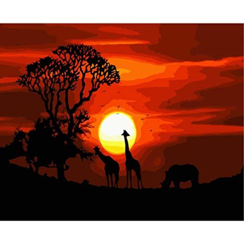 HU0QWPKU Malen Nach Zahlen Leinwand Wohnkultur Ölbild Sonnenuntergang Afrikanische Landschaft Landschaft Handgemalte Kunst Geschenk Zeichnung Souvenir Doodle Kinder Erwachsene Spiel, 40X50 cm Rahmen