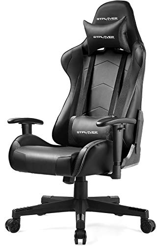 GTPLAYER Gaming Chair Ergonomic Computer Chair Office Desk Chair with High Back Support Comfy Lumbar Support Rocking Function 150° Recliner Chair Height Adjustable for Kids Adults Black