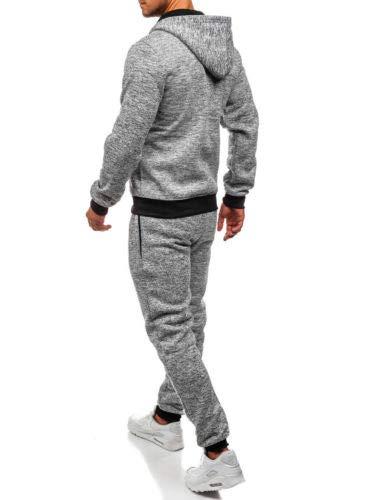 Geagodelia Tuta Sportiva a Maniche Lunghe Uomo Felpa con Cappuccio e Zip 2PC Tinta Untia Tute Pantaloni in Cotone Completo Invernale Jogger per Palestra (Grigio Chiaro, XL)