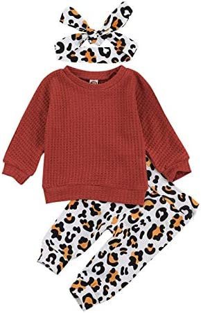 Cute Baby Girl Long Sleeve Pullover Sweater Top Leopard Pants Leggings and Headband Fall Winter product image