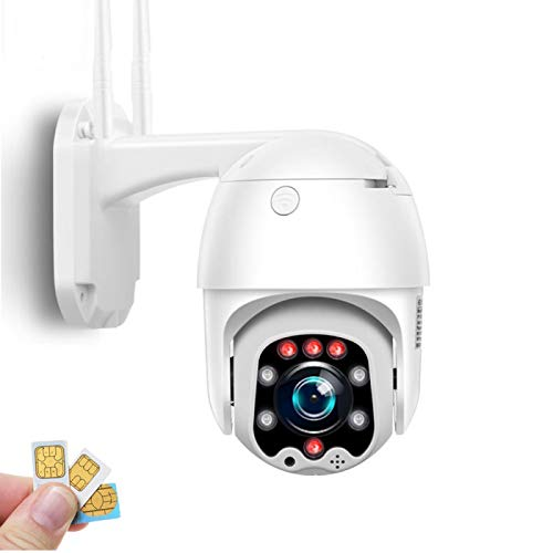 AINSS Cámara IP de vigilancia al Aire Libre Tarjeta SIM 3G / 4G Cámara CCTV HD 1080P, visión Nocturna, detección de Movimiento, Alarma, IP66 a Prueba de Agua (Cámara 4G + Tarjeta TF de 32G)