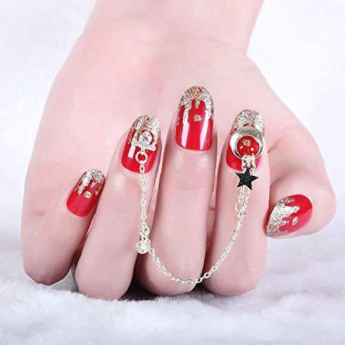 TJJL Faux ongles 24 pcs/boîte rouge volcan brillant pendentif chaîne mi-longueur acrylique ongles conseils femmes portable couverture complète faux ongles avec des conceptions