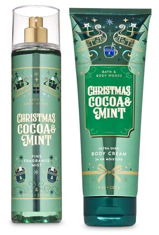 Bath and Body Works CHRISTMAS COCOA & MINT Gift Set - Fine Fragrance Mist & Body Cream - Full Size