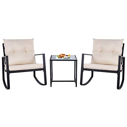 SUNLEI Outdoor 3-Piece Rocking Bistro Set Black Wicker Furniture-Two Chairs with...