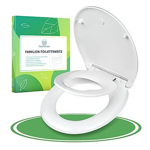 SeaFellows Toilettensitz Kinder I WC Sitz mit Absenkautomatik I antibakteriell & abnehmbar – Geprüfte Klobrille für die ganze Familie