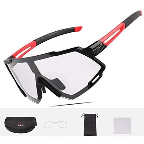 Schutzbrille für Brillenträger,Unisex Polarisierte Sportbrille Intelligente Verfärbung,Fahrradbrille Polarisiert UV400-Schutz,Mtb Brille Schutzbrillen zum Radfahren Angeln Fahren Reiten Fahrrad,Rot