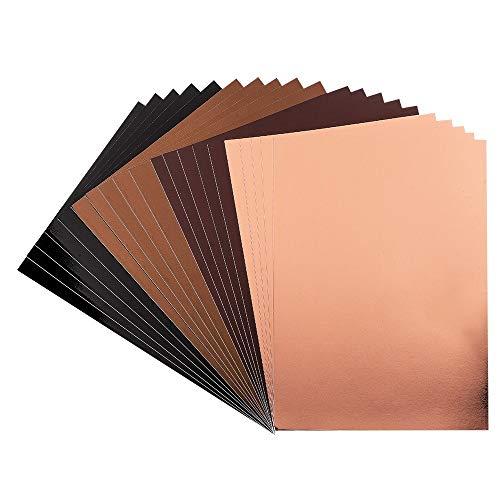 Ideen mit Herz Spiegel-Karton | Metallpapier | Bastelpapier metallic | 20 Bogen | Din A4 | 200 g/qm (braun, Taupe, schwarz, hellkupfer)