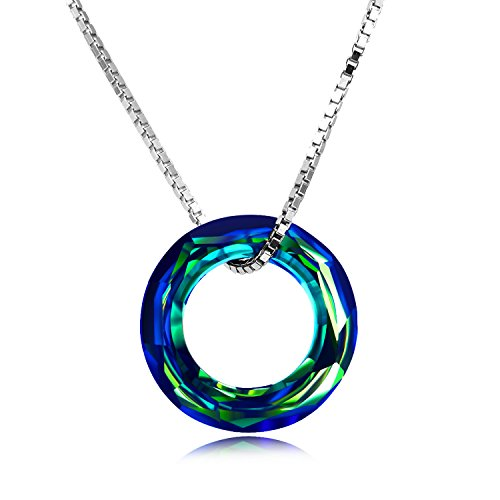 925 Sterling Silver Circle Necklace with Swarovski Crystal, Jewelry for Women Teen Girls (0.78'' Circle AB)