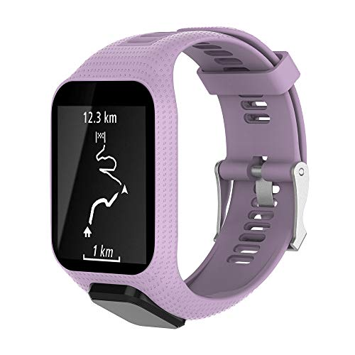 CharmingElf Band Compatible with Tomtom Spark 3/Runner 2 3/Golfer 2/Adventurer,Silicone Watch Strap Replacement,for Man Women (6.11'' (15.5 cm) to 8.66''(22 cm), A05 Purple)