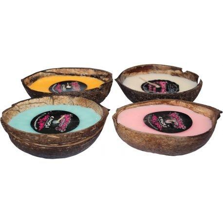 Bubble Gum kaars, 1/2 kokosnoot, Tuberose