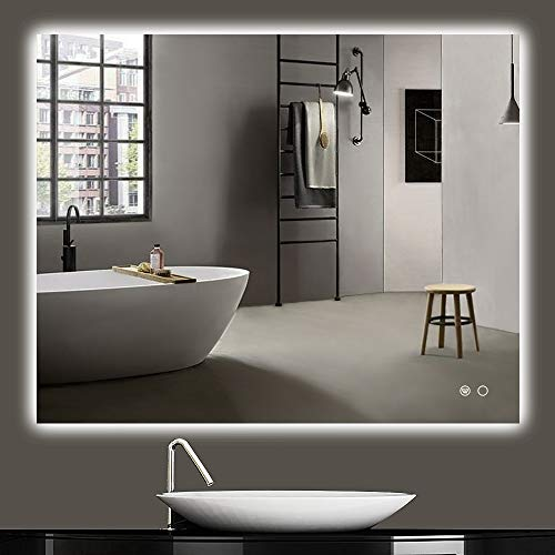 Keonjinn 40 x 32 Inch LED Backlit Mirror Bathroom Vanity Mirror Anti-Fog Wall Mounted Lighted Mirror Dimmable Large Makeup Mirror with Lights (Horizontal/Vertical)