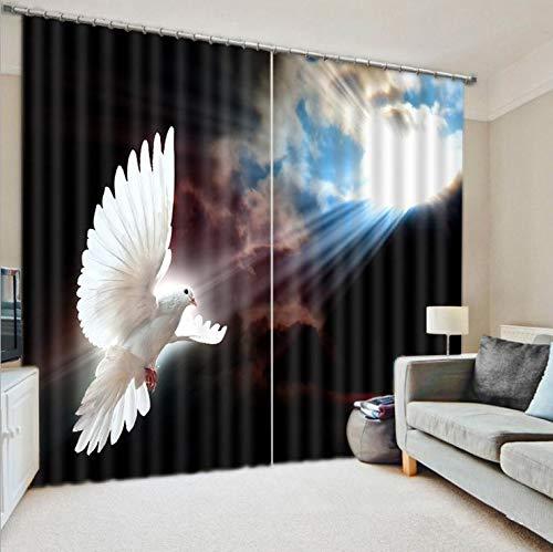 MAOYYM2 kinderen slaapkamer 3D venster gordijn luxe verduistering woonkamer hemel witte duif H85 X W105Inch