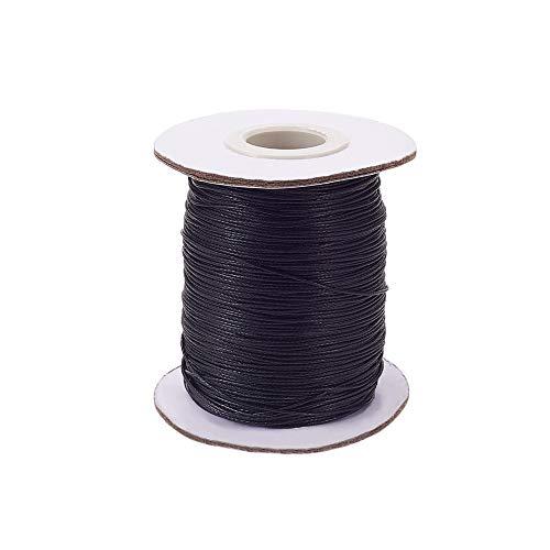 PandaHall 200 Yardas 0.5mm Cordón de Hilo de Algodón Encerado Hilo Rebordear para Pulsera Collar Fabricación de Joyas Y Suministros de Macramé, Negro