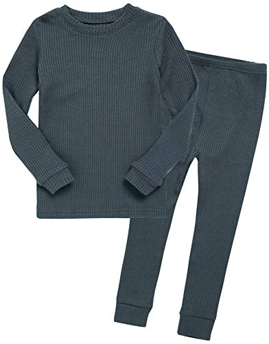 VAENAIT BABY Kids Girls Long Sleeve Modal Sleepwear Pajamas 2pcs Set Rib Knit Chacoal XL