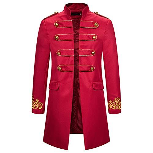 Lalaluka Herren Jacke Frack Steampunk Gothic Gehrock Palast Vintage Hochgeschlossen Langarm Anzüge Uniform Smoking Mantel Viktorianischen Uniformkleid Männer Cosplay Kostüm