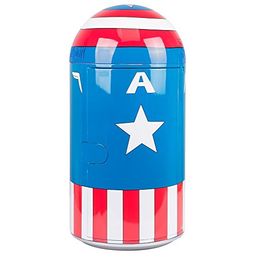 Marvel Comics Captain America Vintage Uniform Pattern Thermoelectric Cooler Mini Fridge, red/White/Blue, 14 L