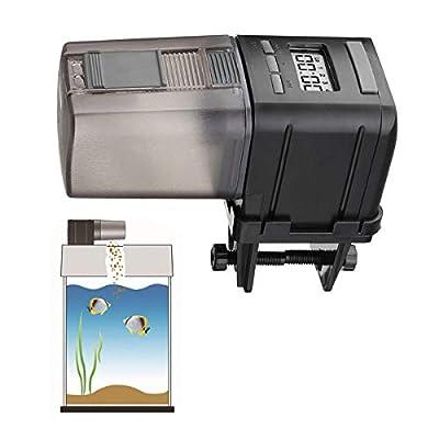 MQUPIN Automatischer Futterspender für Aquarien, Fischfutterspender mit LCD-Display, Futterzeiteinstellung für Aquarium, Aquarium und Schildkrötenbehälter