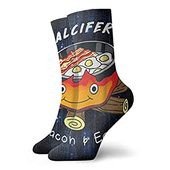 CONAWES Calcifer s Bacon And Egg Cook Howl s Moving Castle Crew Socks Novelty Comfort Sox Men & Women