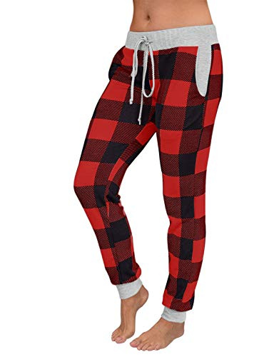 MEROKEETY Women's Drawstring Elastic Waist Plaid Pants Jogger Yoga Active Sweatpant with Pockets, PlaidRed,L