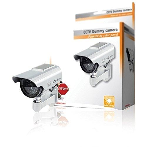 CCTV Premium falso/maniquí cámara de seguridad CCTV con energía solar con LED parpadeante luz - interior Exterior - Plata by ARTUROLUDWIG