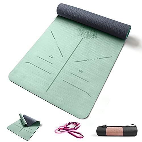 FP-TECH Tappetino da Yoga Imbottito Antiscivolo Fitness Pilates Ginnastica in TPE Mat con Sacca 183 X 68 X 0.8 CM (Verde Acqua-Grigio)