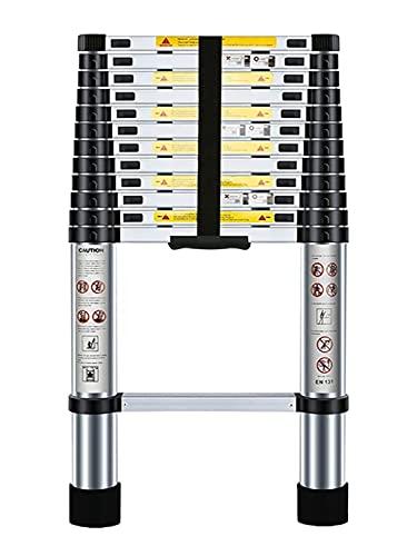 Nestling® Échelle Télescopique 3,8M en Aluminium Bricolage Pliable Extensible Unique Droite Multi-fonction Ladder Charge 330lbs (150 kg)