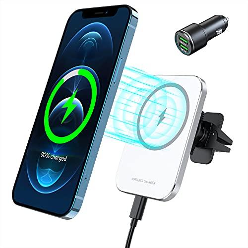 Kabelloses Autoladegerät, Magnet QI Ladestation Auto fürs iPhone 12/12 Pro/12 Pro Max/12 Mini, 15W Wireless Charger Auto Handyhalterung mit Ladefunktion