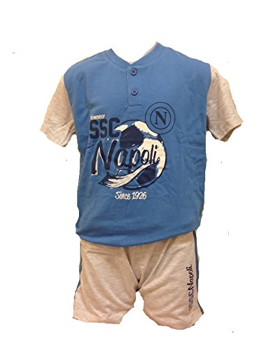 Napoli Pijama Serafino Corto niño SSC 17901Ropa niño Oficial fútbol Azul Claro 5 años