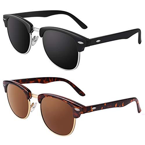 GQUEEN Klassiska polariserade solglasögon, hornram, halvram, för män och kvinnor, GQ51