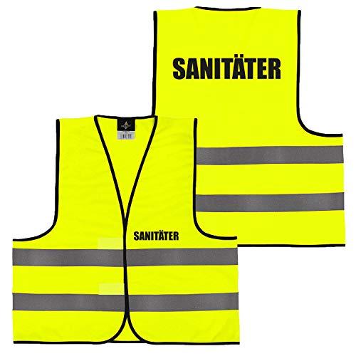 Warnweste Gelb Orange, beidseitig bedruckt auf Brust und Rücken mit Ordner, Security große Auswahl Motive Aufdrucke 017 Sanitäter (Gelb) XXL