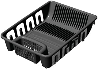 United Solutions SK0110 Black All in One Standard Plastic Sink and Kitchen Dish Rack - Self Draining Dish Rack Holds 22 Plates and 8 Glasses in Black