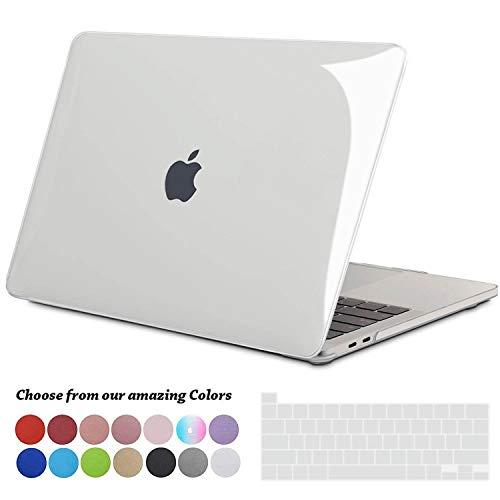 TECOOL MacBook Pro 13 Hülle Case 2020, Plastik Hartschale Tasche Case + EU Tastaturabdeckung für Apple 2020 MacBook Pro 13 Zoll mit Touch Bar (Modell: A2289 / A2251) - Kristallklar