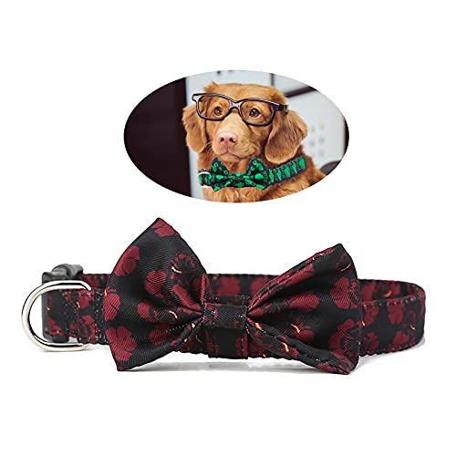 Cuteko Collar de perro para mascotas con diseño de lazo, collar de gato, tamaño ajustable, apto para gatos y perros, 2,5 x 70 cm