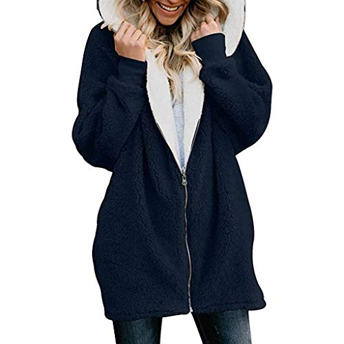 QIQIU Womens Zip Down Hooded Oversized Solid Pocket Fluffy Coat Cardigans Plus Size Loose Casual Outwear Blue