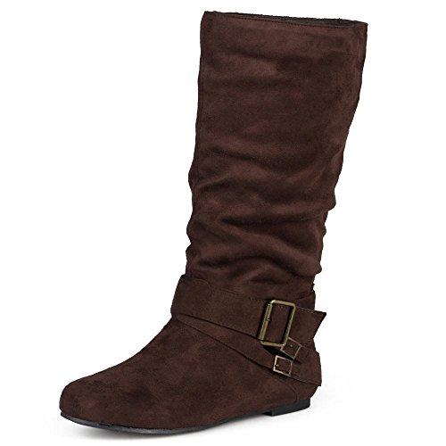Journee Collection Damen regelmäßige und wide-calf Schnalle Slouch, Wadenhohe Stiefel, Braun...