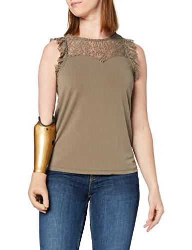 Vero Moda VMALBERTA Sweetheart Lace S/L Top Noos Blusa, Verde Oscuro, XS para Mujer