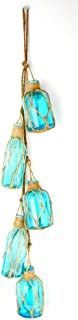 UD Set of Five Assorted Light Blue Glass Buoy Bottles Hanging by Natural Netted Jute Rope