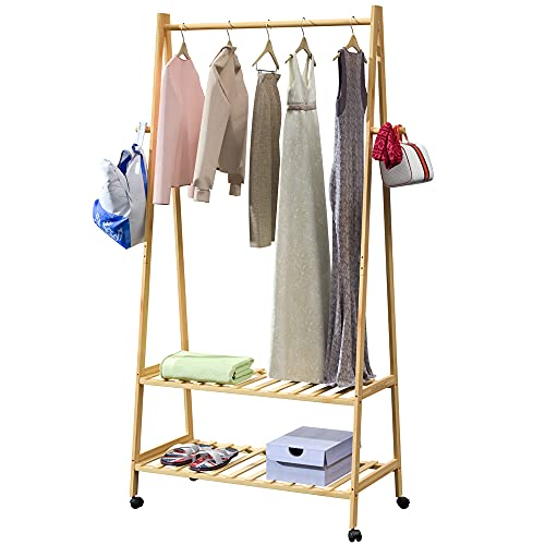 CASARIA Perchero de Bambú con estantes para Zapatos Zapatero Carga máx de 50kg Mueble de Madera con Ruedas 152x69,5x43cm