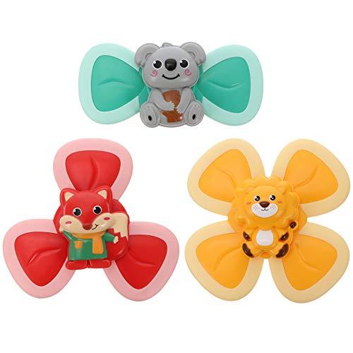 TOYANDONA 3 piezas de succión taza de hilado juguete de la parte superior animal Spin ventosa Spinning Top Spinner juguete para el niño de los niños de las niñas de mesa