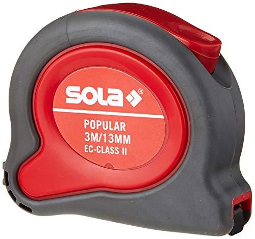 SOLA Bandmaß - POPULAR - 3m / 13mm - Profi-Rollbandmaß mit Gürtelclip - Stahlband, gelb lackiert mit mm Skala - Genauigkeitsklasse II - Rollmeter mit beweglichem Endhaken - Metermaß Länge - 3m / 13mm