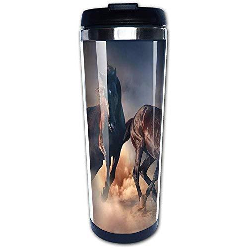 JULOE Laufende Pferde im Südwesten der Wüste Kaffeetassen Edelstahl Wasserflasche Tasse Travel Mug Kaffeebecher