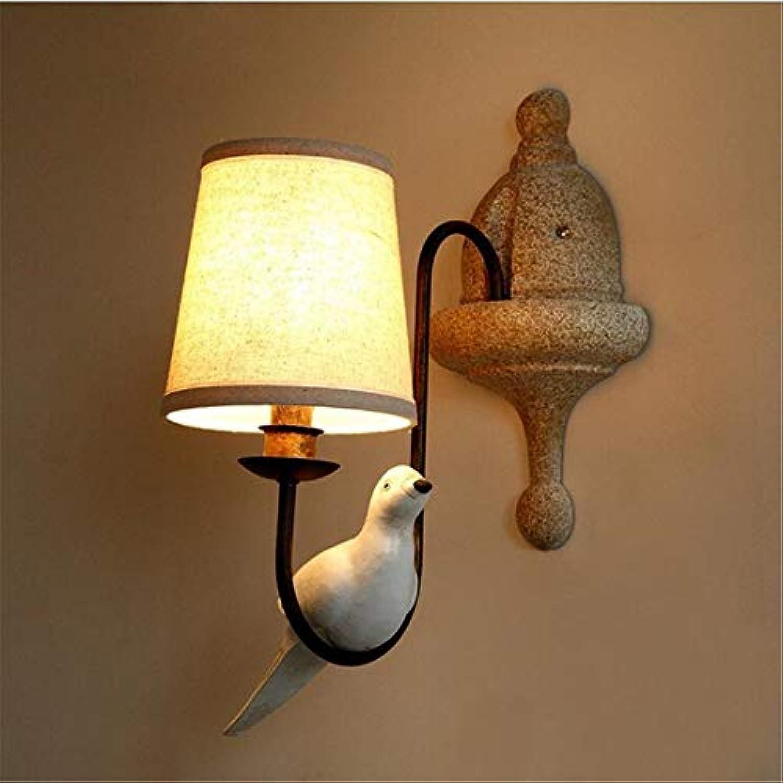 American Continental retro nachttischlampe gemütliches wohnzimmer balkon vgel wandleuchten halterung licht [Energieklasse A +]