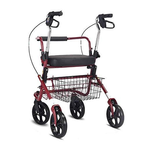 Rollator mit gepolstertem Sitz und Untersitzkorb, zusammenklappbarer 4-Rad-Rollator, gepolsterter Sitz, höhenverstellbare Griffe und Rückenlehne, zusammenklappbar für Lagerung, rot schwarz,