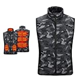 Tops for Men Outdoor Active Camouflage Washable Jacket Coat Winter Heated Warm Zipper Stand Collar Vest with Pocket (Gray, L)