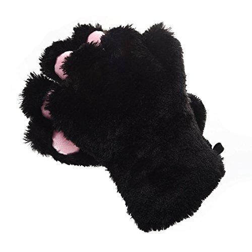 TOOGOO 2 Stk. Schwarze Katze Fuss Pfote Pluesch Handschuhe + Katzenohren Haarspangen Haarnadeln Partei Cosplay