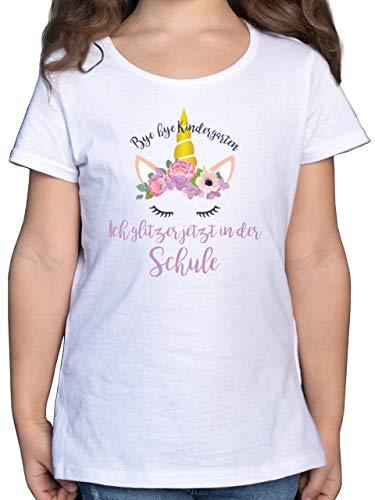 Einschulung und Schulanfang Geschenk - Bye Bye Kindergarten ich Glitzer jetzt in der Schule Blumen - 128 (7/8 Jahre) - Weiß - 8 Jahre Tshirt - F131K - Mädchen Kinder T-Shirt