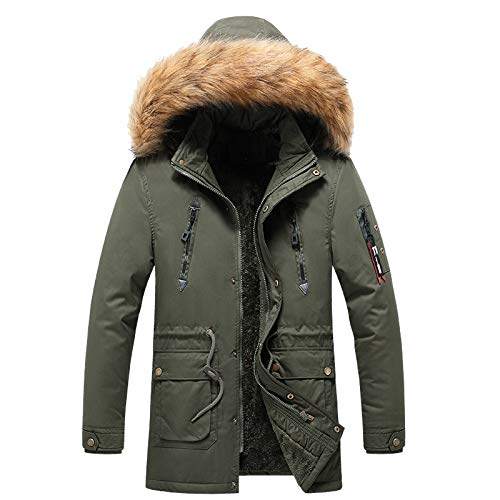 zitan Mens Winter Thicken Coat Faux Fur Lined Jacket with Removable Hood Men Hooded Parkas for Windproof Soft Coat Army Green
