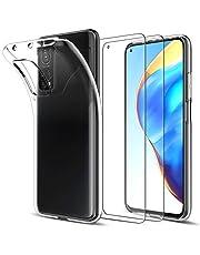 LK Fodral till Xiaomi 10T 5G/10T Pro 5G + [2 x skärmskydd i härdat glas], kristall mjuk TPU stötdämpande silikon transparent skyddskåpa för Xiaomi 10T 5G/10T Pro 5G - klar