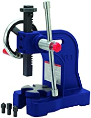 Lever ratio: 18.0:1 Max work height: 6 inches Arbor press height: 11 inches Arbor press base dimensions: 6-1/8 x 1-9/16 inches Arbor press weight: 34 pounds
